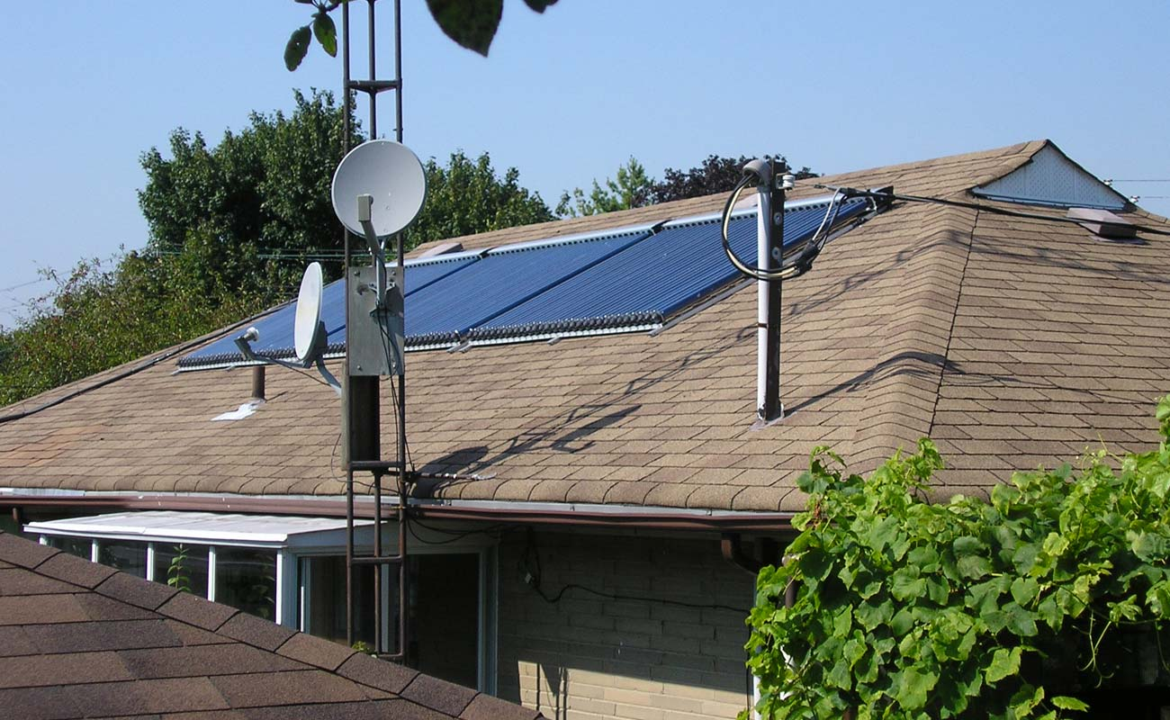 Sollar system on a sunny roof