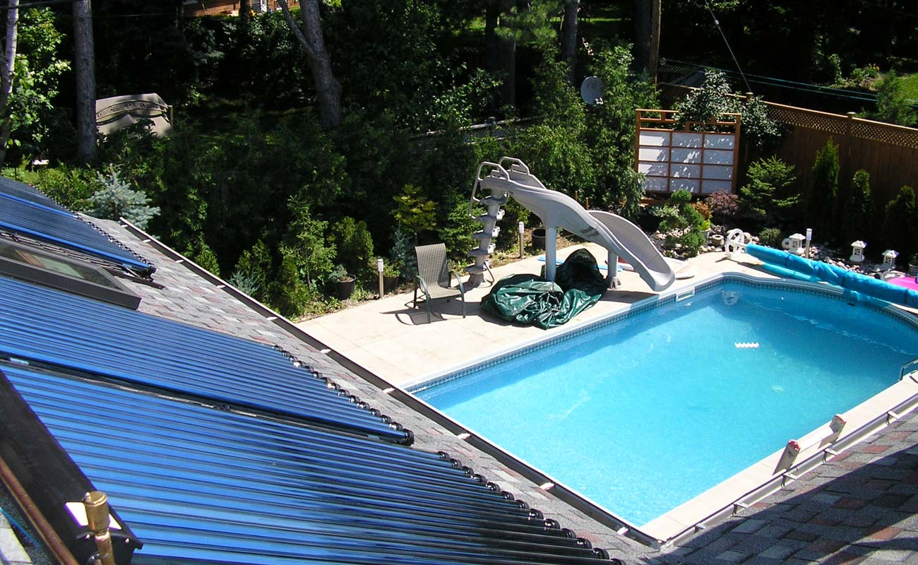 Solar tubes heating a swimming area