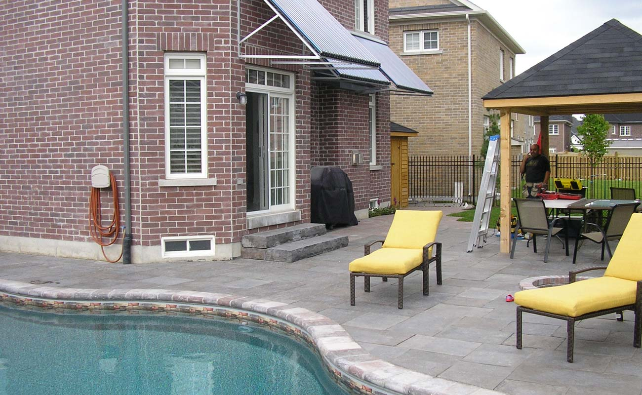 Solar pool heating installed above the back door